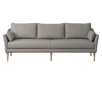West Elm Antwerp Shadow Weave Platinum Sofa