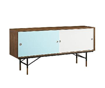 Manhattan Home Design Walnut Credenza in White