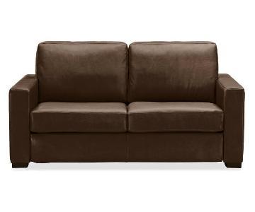 Room & Board Berin Bison Brown Sleeper Sofa & Ottoman