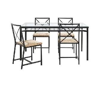 Ikea Glass Top Dining Table w/ 4 Rattan Seat Dining Chairs
