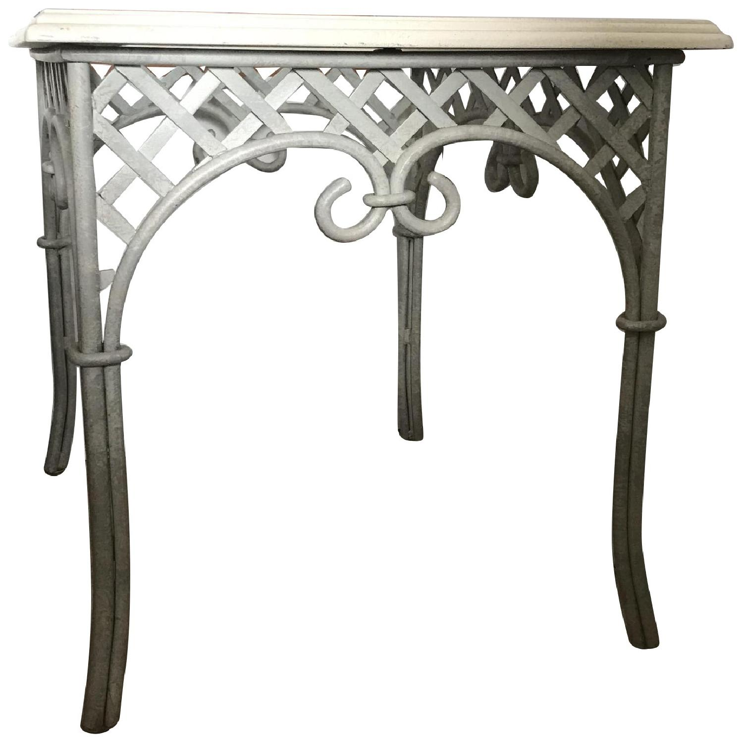 Lane Wrought Iron Ivory Lattice End/Side Table W/ Glass Top ...