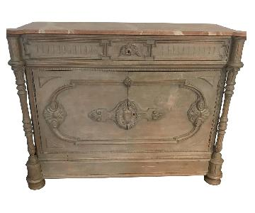 Antique Marble Top & Wood Credenza Buffet