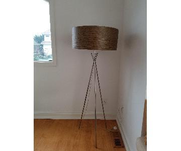 Tripod Standing Lamp w/ Wenge Wood Veneer Shade.