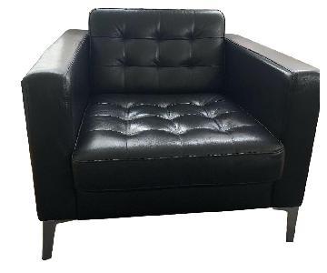 Ikea Landskrona Tufted Leather Armchair & Ottoman