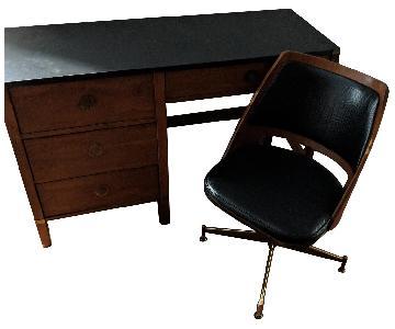 Vintage Mid Century Modern Walnut Desk & Chair