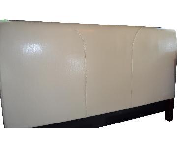 Modern King Headboard in Cream Leather