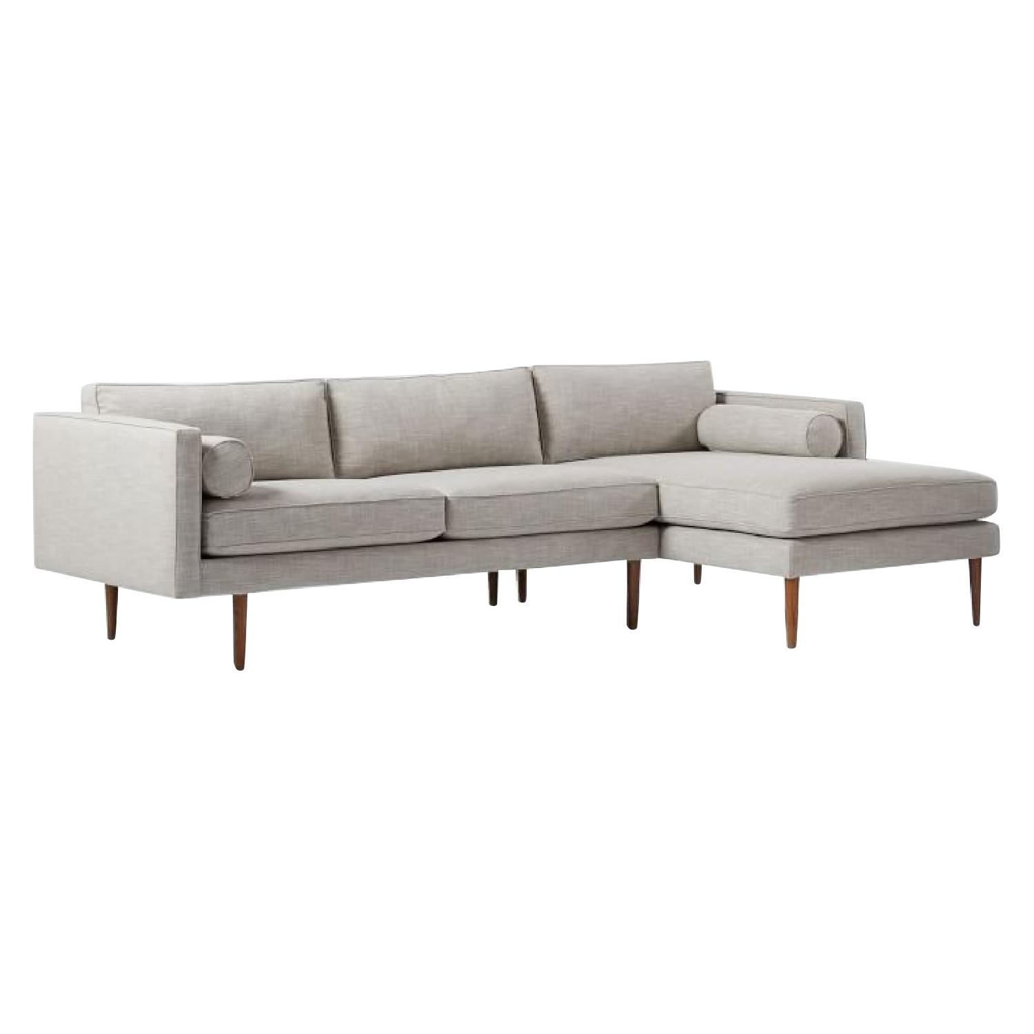 West Elm Monroe Mid Century 2 Piece Chaise Sectional Sofa ...