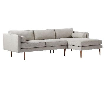 West Elm Monroe Mid-Century 2-Piece Chaise Sectional Sofa