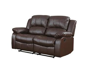 Homelegance Brown Bonded Dual Reclining Leather Loveseat