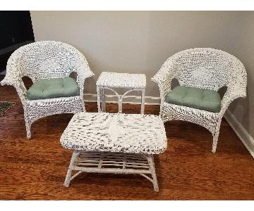 White Wicker Armchairs + Coffee + Side Tables