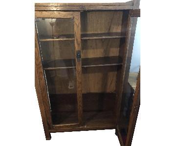 Wood Bookcase w/ Glass Doors