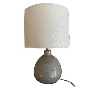 Crate & Barrel Gray Ceramic Egg Table Lamp