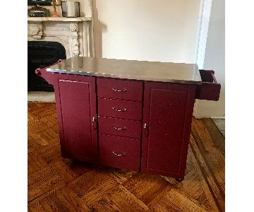 Kitchen Island w/ Stainless Steel Top & Locking Wheels