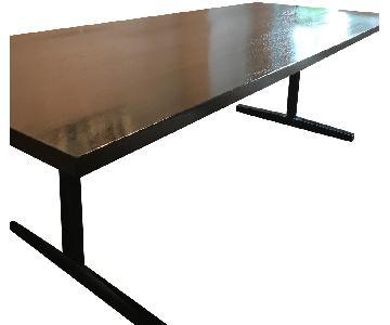 Custom Oak Dining Table w/ Steel Base