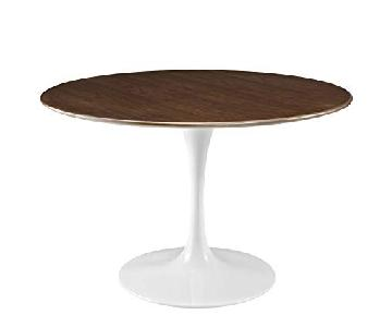 LexMod Lippa Round Walnut Dining Table w/ White Base