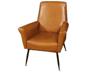 20th Century Faux Leather & Metal Italian Design Armchairs