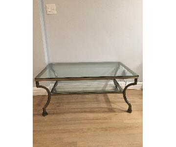 Raymour & Flanigan Contemporary Glass Coffee Table
