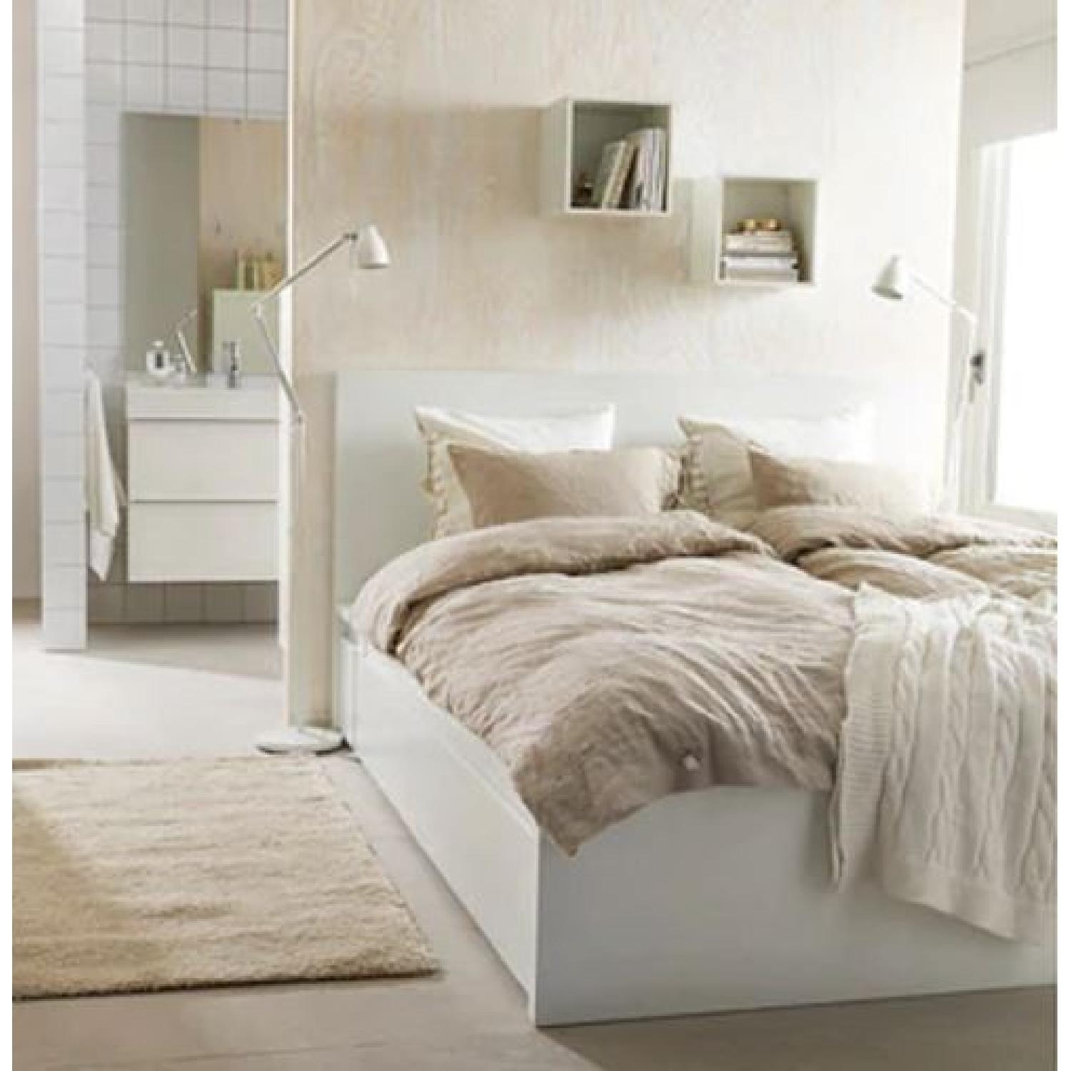 Ikea Malm High White Bed Frame w/ 4 Storage Boxes - AptDeco