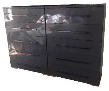 Grey Lacquer 5 Drawer Dresser