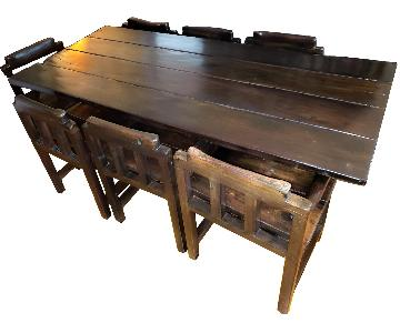 African Wood Tracks 9-Piece Dining Set
