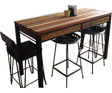Butcher Block Kitchen Island w/ 2 Chairs + 2 Stools