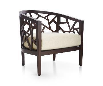 Crate & Barrel Ankara Truffle Frame Chairs w/ Fabric Cushion