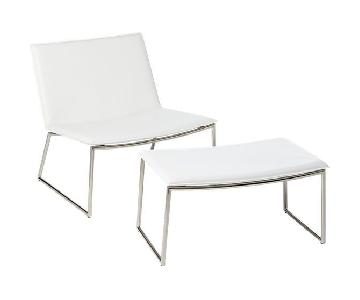 CB2 Triumph Chalk Lounge Chair & Ottoman