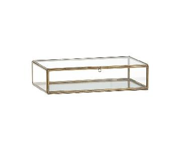 Crate & Barrel Clarus Square Brass Display/Jewelry Box