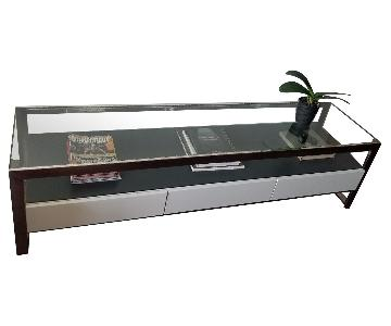 Modern Metal & Glass Console w/ White Drawers