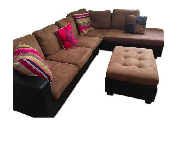 Venetian Worldwide Dallin L-Sectional Sofa & Ottoman