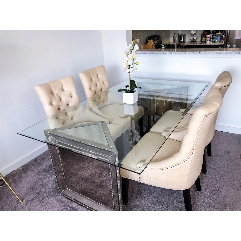 macy s sophia mirrored glass dining table aptdeco