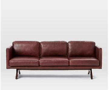 West Elm Brooklyn Sofa in Oxblood Leather