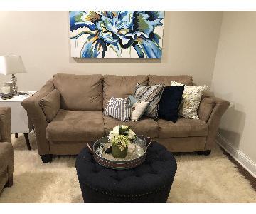 Ashley Beige Suede Sleeper Sofa
