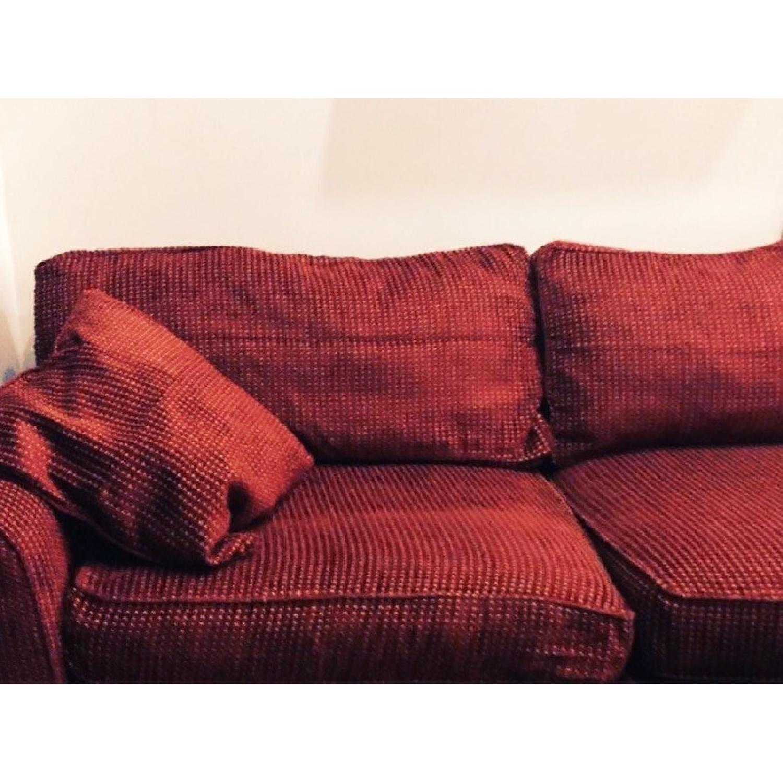 Custom Hand-Stitched Burgundy Sectional Sofa - AptDeco
