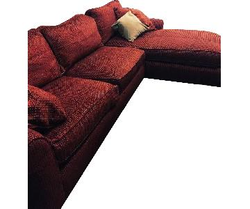 Custom Hand-Stitched Burgundy Sectional Sofa