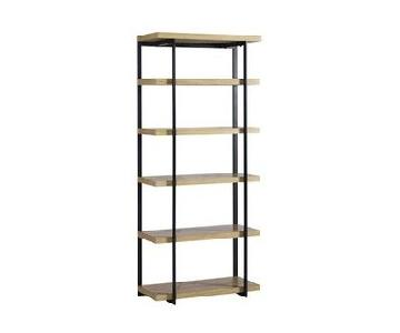 West Elm Flat Bar Bookcase in Beech Wood Metal