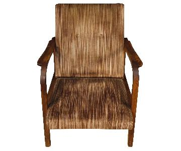 Italian Design Armchairs in Wood & Striped Fabric
