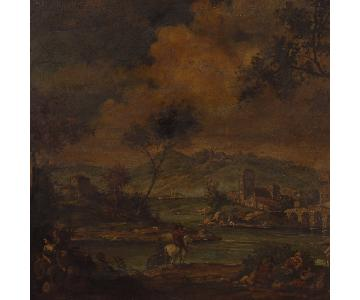 Oil on Canvas Italian Landscape w/ Characters Painting