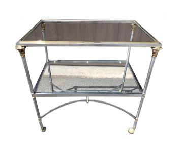 French Jansen Style Steel & Brass Side Table on Casters