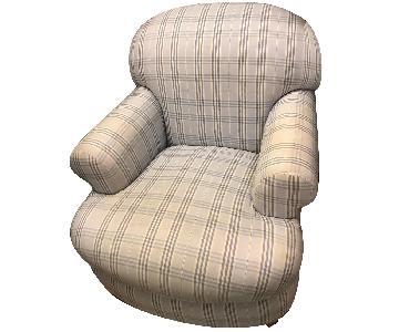 Plaid Baby Blue Arm Chair