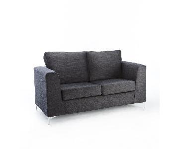 Jennifer Convertibles Dark Grey 2 Seater Sofa