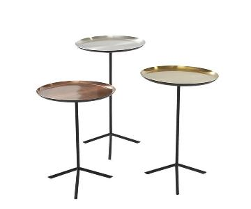 CB2 Copper Brass & Silver Circular Side Tables