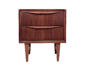 France and Son Mid-Century 2-Drawer Walnut Nightstand
