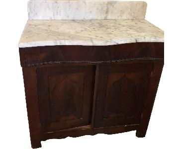 Marble Top Wood Storage Cabinet