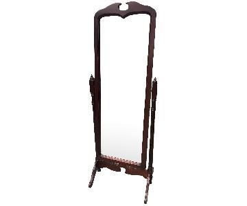 Vintages 1970s Cherry Wood Framed Floor Mirror
