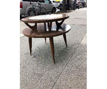 Mid Century 1950s 2 Tier Round Side Table