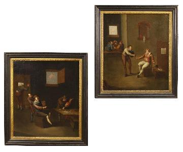 17th Century Oil On Canvas Flemish Interior Scenes Paintings