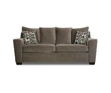 Jennifer Convertibles Bianca Grey Two Seat Sofa & Ottoman