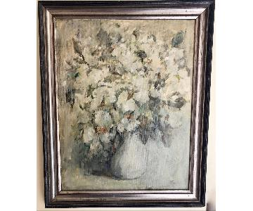 Serene Expressive Oil Painting of Flowers