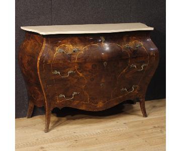 20th Century 1950 Inlaid Wood Marble Top Italian Dresser